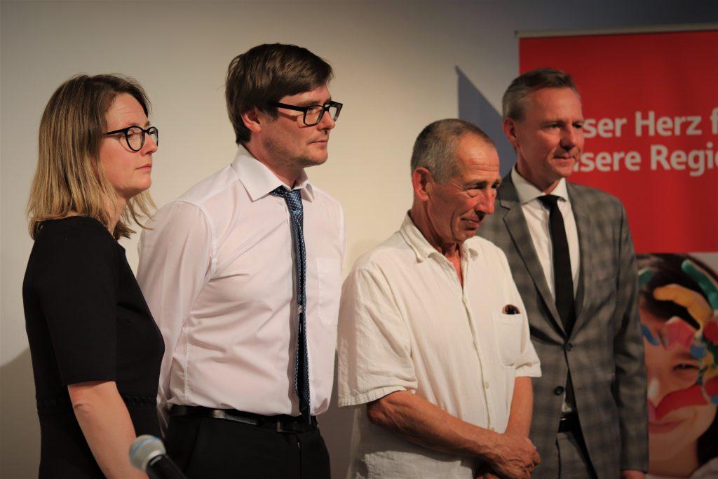 v.l.n.r.: Annekatrin Klepsch (Zweite Bürgermeisterin), Michael Bittner (Moderator), Bernd Wagner (Dresdner Stadtschreiber), Heiko Lachmann (Vorstandsvorsitzender der Dresdner Stiftung Kunst und Kultur der Ostsächsischen Sparkasse Dresden)